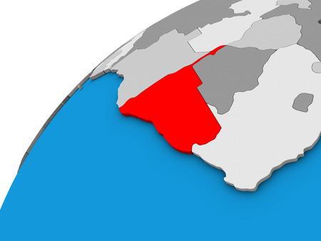 Namibia on 3D globe. 3D illustration.