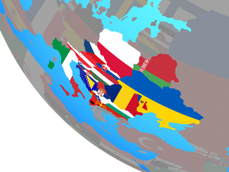 CEI countries with national flags on simple globe. 3D illustration. 版權商用圖片