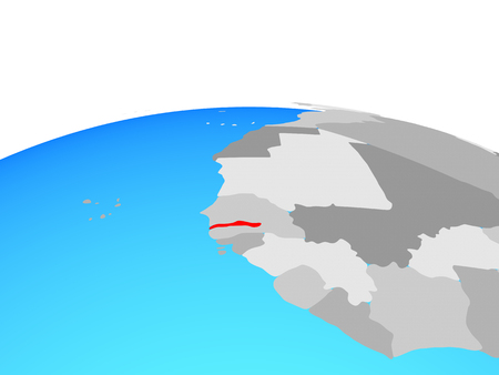 Gambia on political globe. 3D illustration.