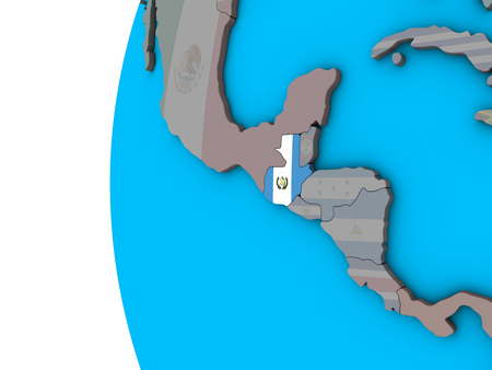 Guatemala with national flag on blue political 3D globe. 3D illustration.