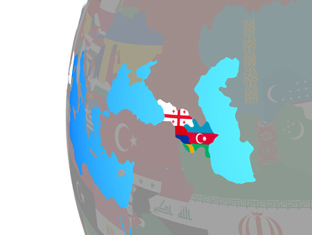 Caucasus region with embedded national flags on blue political globe. 3D illustration.