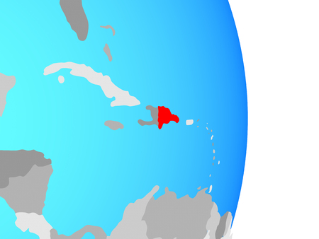 Dominican Republic on simple political globe. 3D illustration.