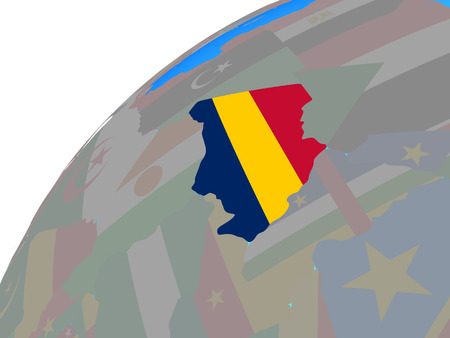 Chad with embedded national flag on globe. 3D illustration.