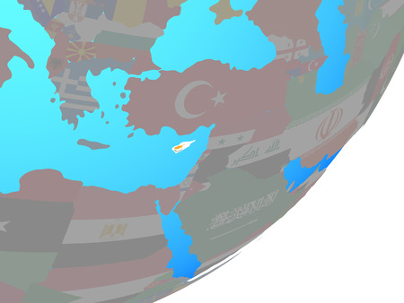 Cyprus with embedded national flag on blue political globe. 3D illustration.