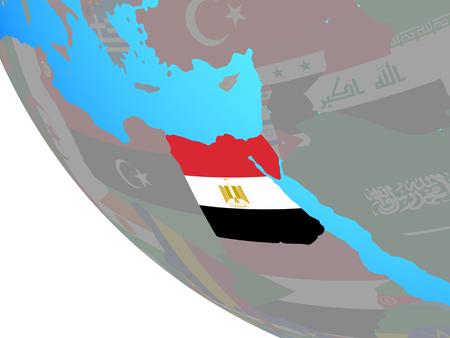 Egypt with national flag on simple globe. 3D illustration.