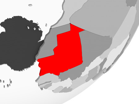 Illustration of Mauritania highlighted in red on grey globe with transparent oceans. 3D illustration.
