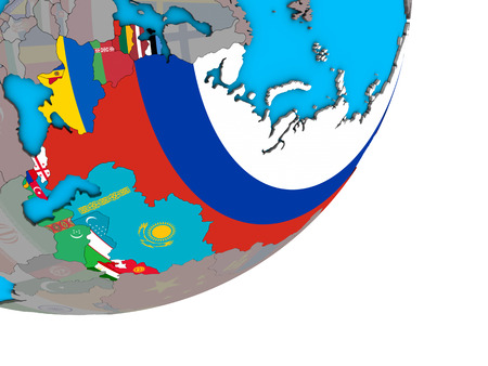 Former Soviet Union with national flags on blue political 3D globe. 3D illustration. Banque d'images - 110397421
