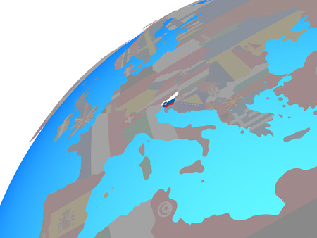Slovenia with embedded national flag on globe. 3D illustration.
