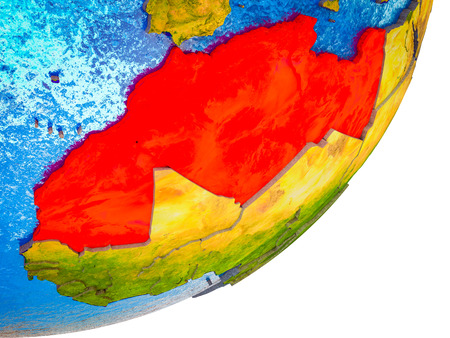 Maghreb region on 3D model of Earth with water and divided countries. 3D illustration.