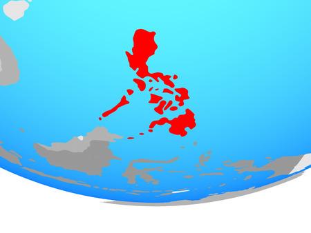 Philippines on simple political globe. 3D illustration.
