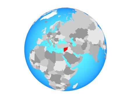 Syria on blue political globe. 3D illustration isolated on white background.