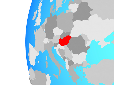 Hungary on blue political globe. 3D illustration.