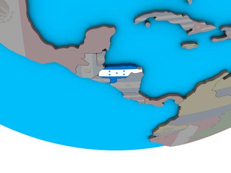 Honduras with embedded national flag on simple political 3D globe. 3D illustration.