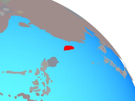 Taiwan with national flag on simple blue political globe. 3D illustration. Stok Fotoğraf