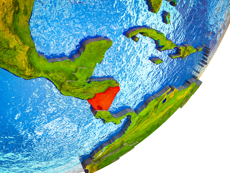 Nicaragua on 3D model of Earth with water and divided countries. 3D illustration. Stok Fotoğraf