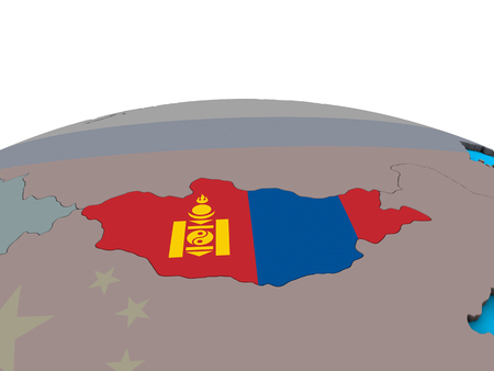 Mongolia with embedded national flag on political 3D globe. 3D illustration.