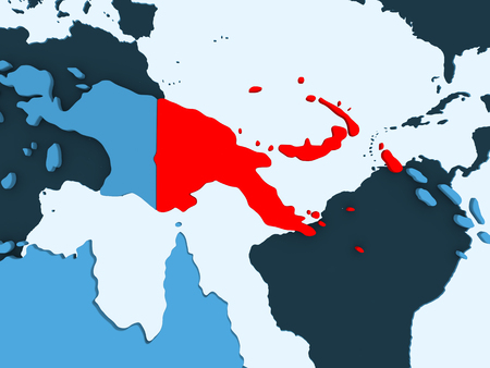 Papua New Guinea in red on blue political map with transparent oceans. 3D illustration.