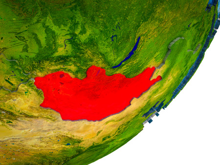 Mongolia on 3D model of Earth with water and divided countries. 3D illustration.