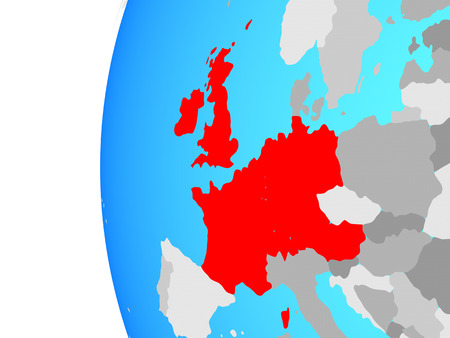 Western Europe on blue political globe. 3D illustration.