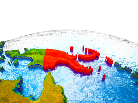 Papua New Guinea on 3D Earth with visible countries and blue oceans with waves. 3D illustration. Stock Illustration - 110397837