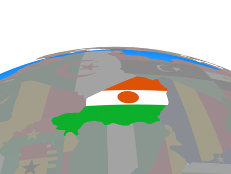 Niger with national flag on political globe. 3D illustration. Stock Photo