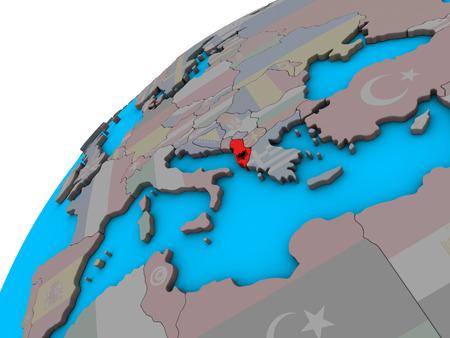 Albania with national flag on 3D globe. 3D illustration.