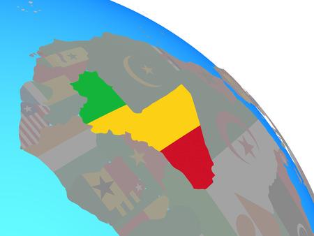 Mali with national flag on simple blue political globe. 3D illustration.