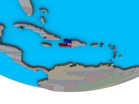 Haiti with embedded national flag on simple political 3D globe. 3D illustration. Stock Photo