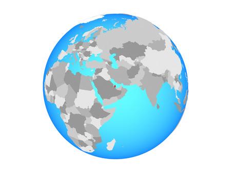 Qatar on blue political globe. 3D illustration isolated on white background.