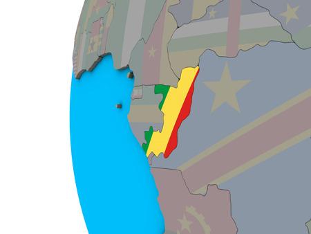 Congo with national flag on blue political 3D globe. 3D illustration. Standard-Bild - 110397925