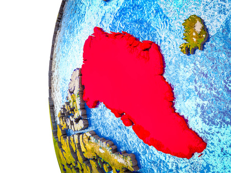 Greenland highlighted on 3D Earth with visible countries and watery oceans. 3D illustration.