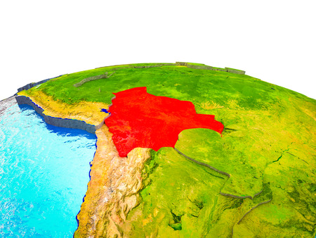 Bolivia on 3D Earth with visible countries and blue oceans with waves. 3D illustration.