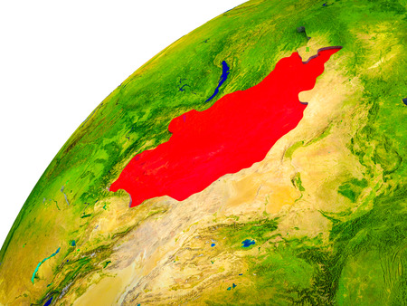 Mongolia on 3D Earth model with visible country borders. 3D illustration.