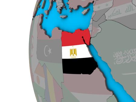 Egypt with national flag on blue political 3D globe. 3D illustration. Stock Photo