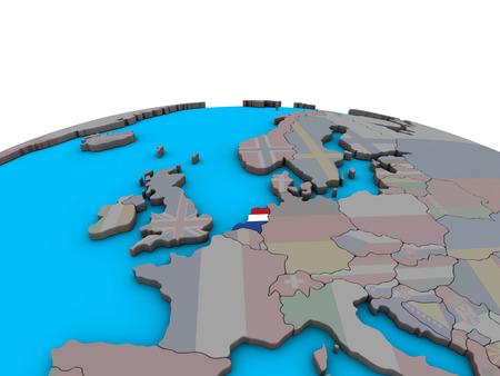 Netherlands with embedded national flag on political 3D globe. 3D illustration. Stockfoto