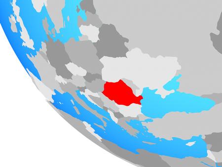 Romania on simple globe. 3D illustration.