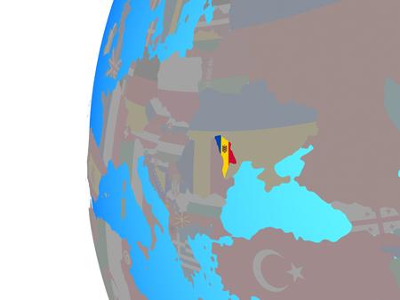 Moldova with embedded national flag on blue political globe. 3D illustration. Stock Photo