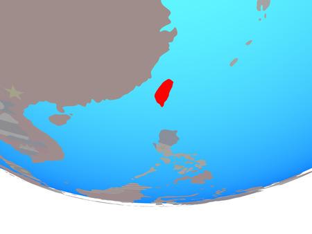 Taiwan with national flag on simple political globe. 3D illustration. Stok Fotoğraf