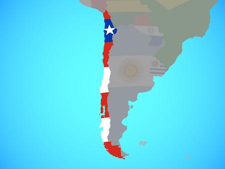 Chile with national flag on blue political globe. 3D illustration. Banque d'images