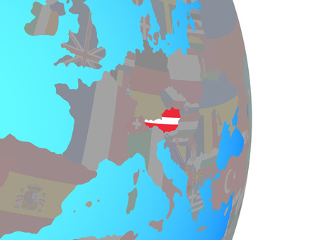 Austria with national flag on simple political globe. 3D illustration. Standard-Bild - 110617718