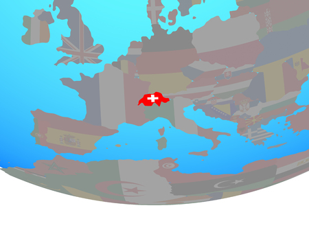 Switzerland with national flag on simple political globe. 3D illustration. Banque d'images - 110617724
