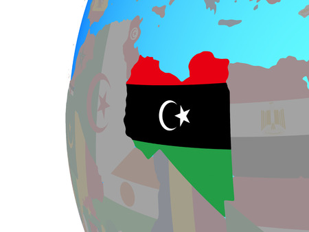 Libya with embedded national flag on blue political globe. 3D illustration. Stock Photo