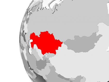 Kazakhstan highlighted on grey 3D model of political globe with transparent oceans. 3D illustration.