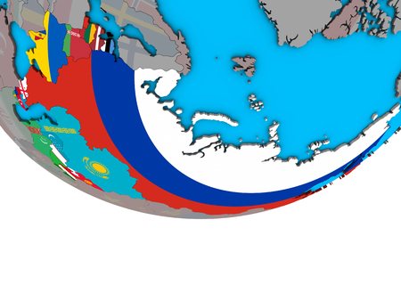 Former Soviet Union with embedded national flags on simple political 3D globe. 3D illustration.