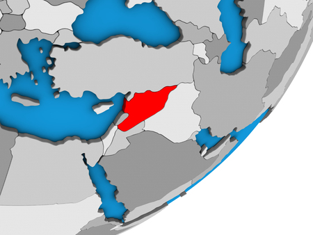 Syria on blue political 3D globe. 3D illustration.