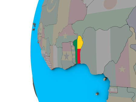 Benin with national flag on blue political 3D globe. 3D illustration. Stock Photo