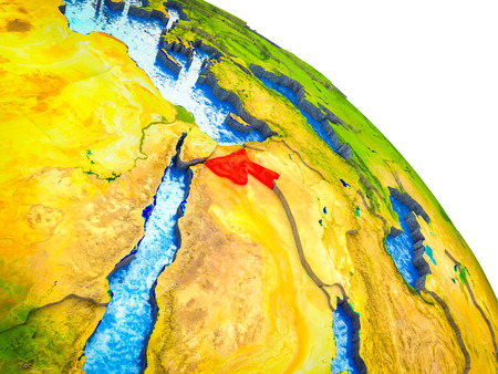 Jordan Highlighted on 3D Earth model with water and visible country borders. 3D illustration.