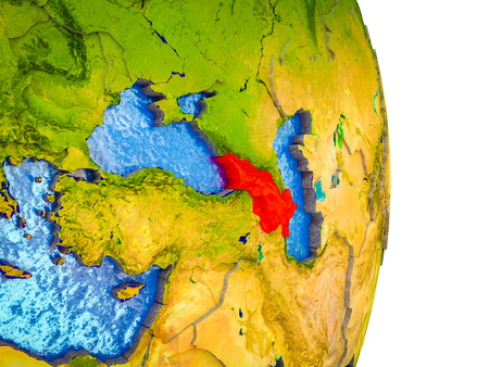 Caucasus region on 3D model of Earth with divided countries and blue oceans. 3D illustration.