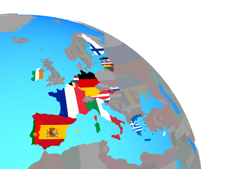 Eurozone member states with national flags on simple blue political globe. 3D illustration.