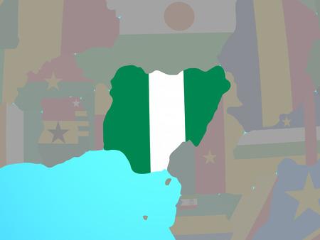 Nigeria with national flag on blue political globe. 3D illustration.